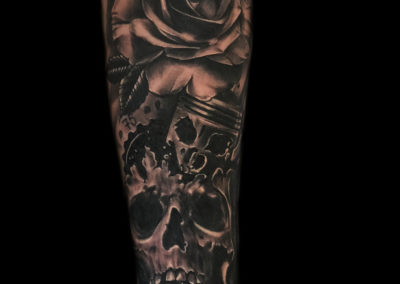 skull, rose